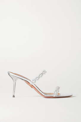Aquazzura Heaven 75 Crystal-embellished Pvc And Metallic Leather Mules - Silver