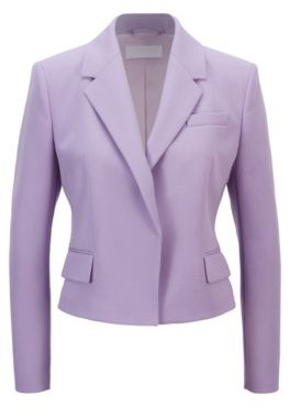 HUGO BOSS Regular Fit Jacket In Italian Broken Twill Wool - Light Purple