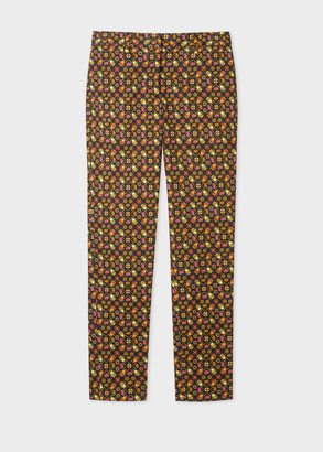 Paul Smith Women's Classic-Fit Black 'Ditsy Beetle' Print Stretch-Cotton Pants
