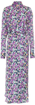 Plan C Floral crepe de chine shirt dress