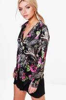 boohoo Sophie Satin Floral Paisely Night Shirt multi