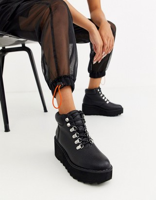 ASOS DESIGN Astroid chunky hiker wedge lace up ankle boots