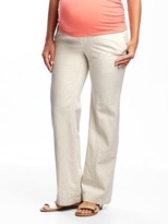 Old Navy Maternity Roll-Panel Wide-Leg Linen-Blend Pants