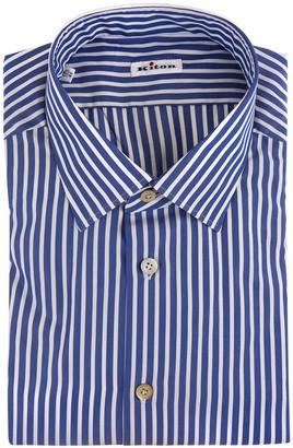 Kiton Man Shirt In Royal Blue Poplin With White Thin Stripes