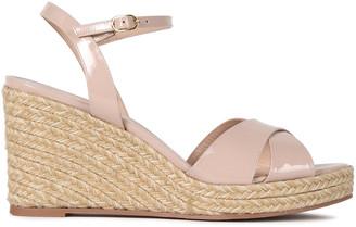 Stuart Weitzman Rosemarie Patent Leather Espadrille Wedge Sandals