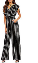 Band of Gypsies Pinstripe V-Neck Short Tie Sleeve Jumpsuit