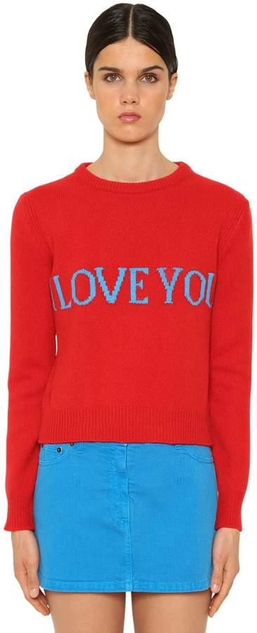 Alberta Ferretti I Love You Wool Intarsia Sweater