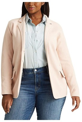 Lauren Ralph Lauren Plus Size Tubular Trim Blazer (Pink Hydrangea) Women's Clothing
