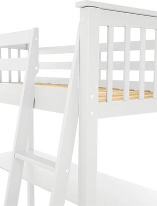 Novara High Sleeper with Desk - White
