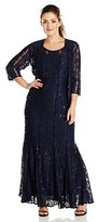 Alex Evenings Women's Plus-Size Illusion Neckline Gown with Jacket