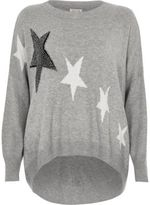 River Island Womens Grey stud star print knit jumper