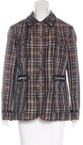 Bogner Leather-Trimmed Plaid Print Jacket