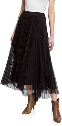 Brunello Cucinelli Windowpane Pleated Tulle Dress