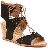 Dolce Vita Langly Nubuck Leather Laser Cut Lace Up Wedge Sandals