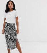 Asos DESIGN Petite jersey midi skirt with split in mono animal