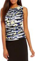 Calvin Klein Petites Digital Stripe Print Matte Jersey Pleat Neck Shell