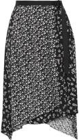 Rag & Bone Liv Asymmetric Printed Crepe Wrap Skirt - Black