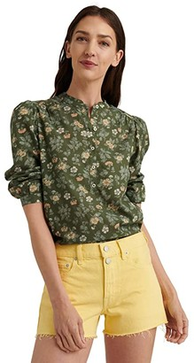 Lucky Brand Long Sleeve Button-Up One-Pocket Megan Popover Top (Olive Multi) Women's Clothing