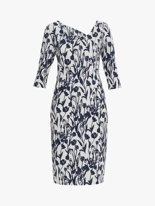 Gina Bacconi Hayla Floral Knee Length Dress, Navy/White