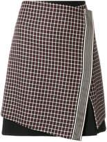 Etro asymmetrical layered check skirt