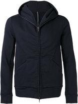 Attachment seamed zip hoodie - men - Cotton/Polyurethane - III