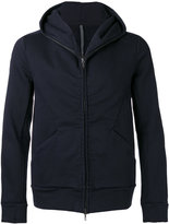 Attachment seamed zip hoodie - men - Cotton/Polyurethane - V