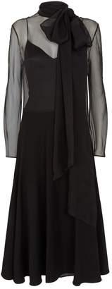 Valentino Long-Sleeved Tulle Midi Dress