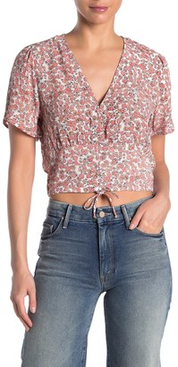 Cotton On Floral Ruched Seam Crop Top