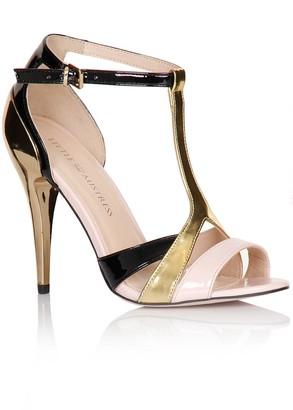 Little Mistress Footwear Black, Gold and Pink Multi Strap Stilettos