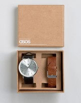 Asos Interchangeable Watch In Tan And Black