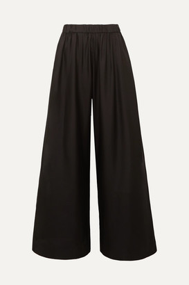Deitas Silk-twill Wide-leg Pants - Black