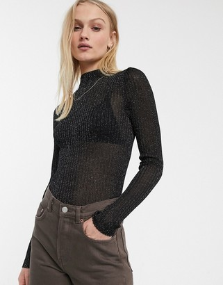 And other stories & glitter roll neck long sleeve jumper in black