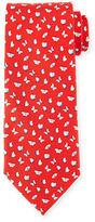 Salvatore Ferragamo Butterfly-Print Silk Tie, Red