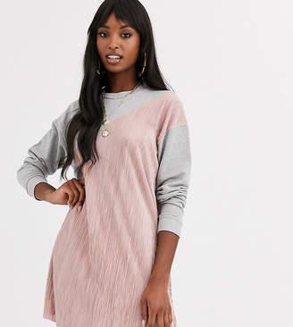 Asos Tall DESIGN Tall plisse mix sweat dress-Grey