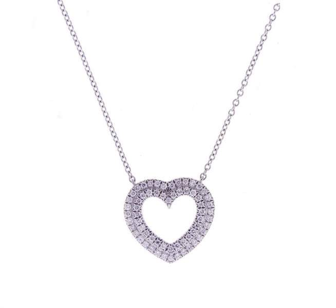 Tiffany & Co. Platinum 0.21 Ct Diamond Heart Necklace