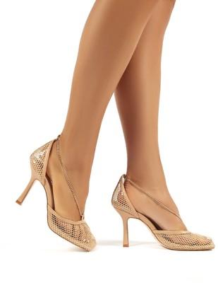 Public Desire Uk Anabela Fishnet Chain Detail Square Toe Stiletto High Heels