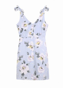 FRNCH Floral Tie Shoulder Dress - M - Blue