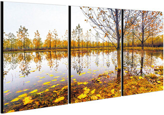 Chic Home Design Falling Leaves 3Pc Set Wrapped Canvas Wall Art