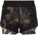 Lucas Hugh Erte Mesh And Printed Stretch Shorts - Black