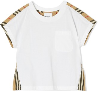 BURBERRY KIDS Icon Stripe panel T-shirt