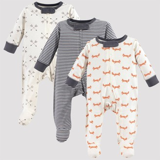 N. Touched By Nature Touched by Nature Baby 3pk Fox Organic Cotton Sleep N' Play - Off White/Gray