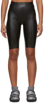 Adidas Originals By Alexander Wang Black Faux-Leather Shorts