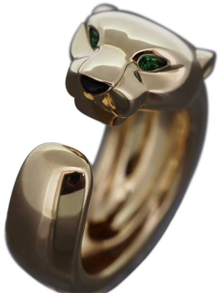 Cartier 18K Yellow Gold Tsavorite Garnet And Onyx Panther Massai Ring Size 4.25