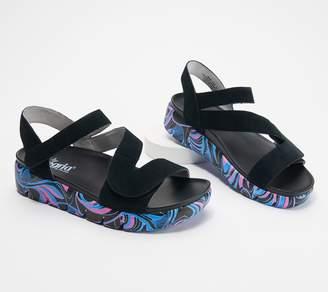 Alegria Suede Adjustable Asymmetrical Sandals - Anah
