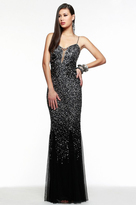 Faviana s7377 Multi Sequined Illusion Evening Dress