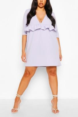 boohoo Plus Ruffle Plunge Smock Dress