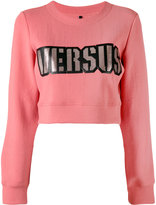 Versus logo print cropped sweatshirt - women - Polyamide/Polyester/Spandex/Elastane - S