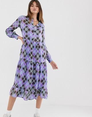 Levete Room check print tired midi dress-Purple