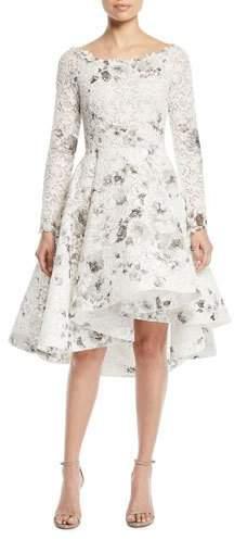 Monique Lhuillier Bateau-Neck Long-Sleeve Shadow-Print Floral-Lace Cocktail Dress