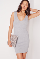 Missguided Sleeveless Bodycon Dress Grey Marl